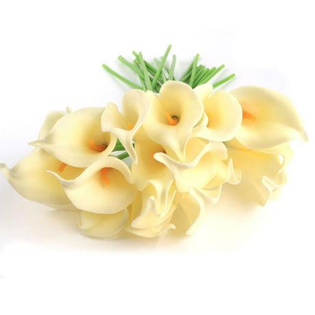 14 20pcs artificial calla lily flower arrangement wedding bouquet pu real touch. Black Bedroom Furniture Sets. Home Design Ideas