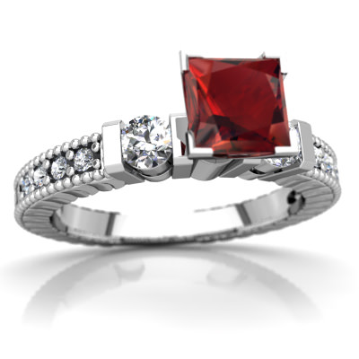 Garnet Milgrain Art Deco Ring in 14K White Gold by