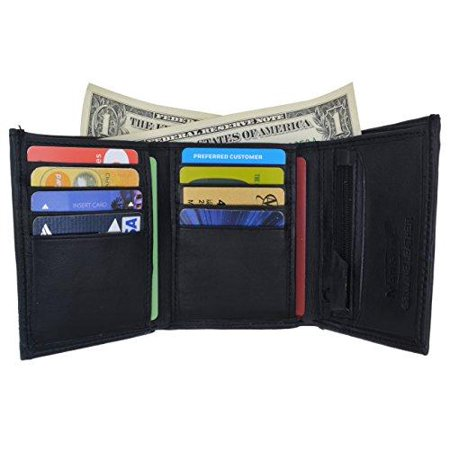 Lambskin Leather Men's Trifold Outside ID Credit Card Holder W/Zipper Pocket Wallet (Lambskin Pocket)