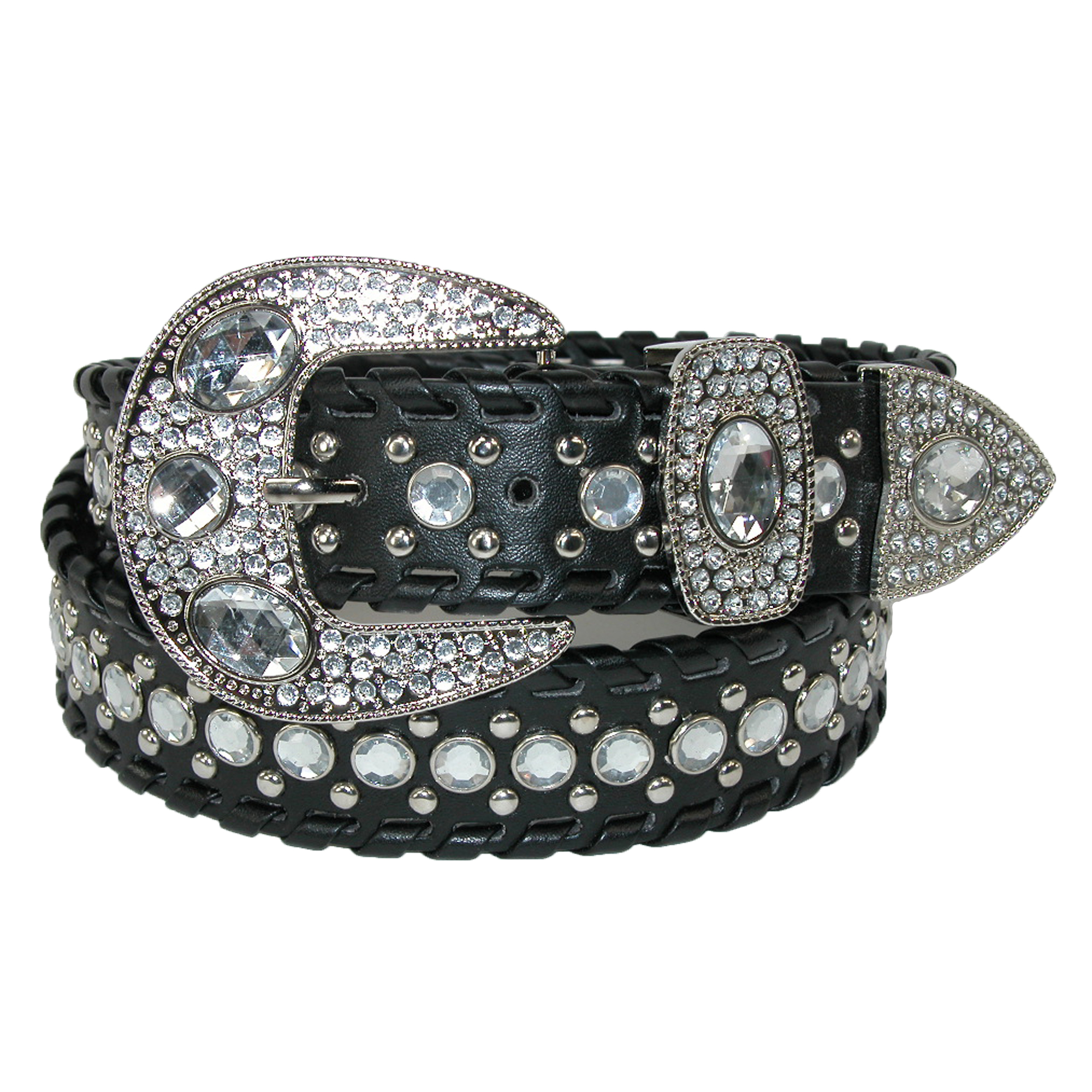 CTM��  Women's Western Belt with Rhinestones and Studs