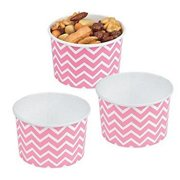 Candy Pink Chevron Snack Bowls - Party Supplies - 12 Pieces