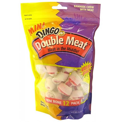 "Dingo Double Meat Rawhide & Meat Chew Bone Mini - 12 Pack - (2.5"" Bones)"