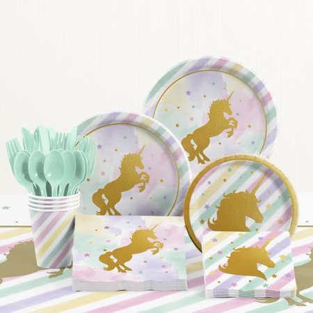 The Party Aisle 81 Piece Unicorn Birthday Party Supplies Set for $<!---->