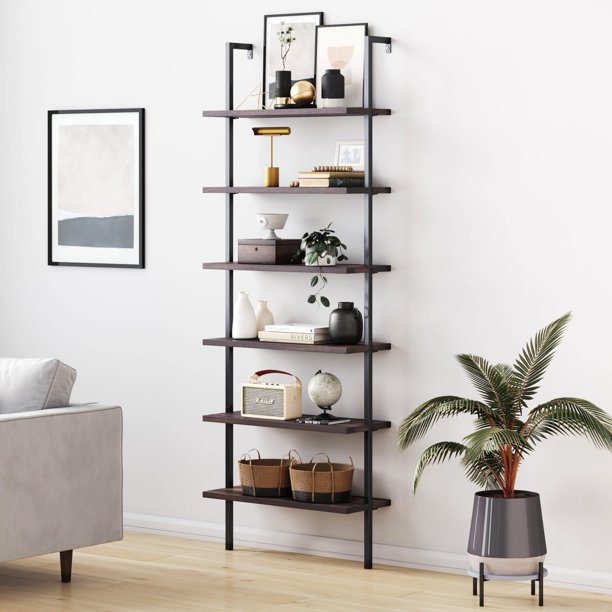 Nathan James Theo 6-Shelf Tall Bookcase, Wall Mount Bookshelf Natural Wood Industrial Metal Frame, Nutmeg/Black