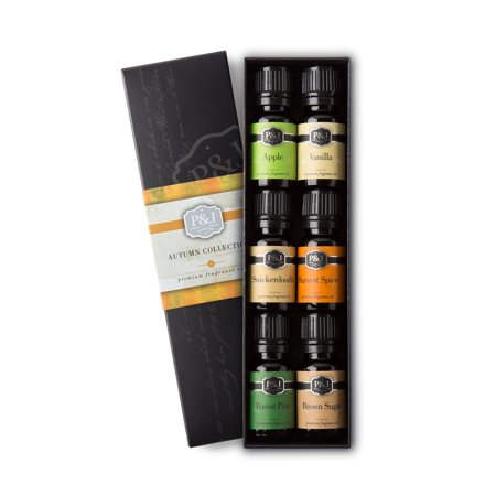 Autumn Set of 6 Fragrance Oils - Premium Grade Scented Oil - 10ml - Brown Sugar, Apple, Harvest Spice, Vanilla, Forest Pine, Snickerdoodle ()
