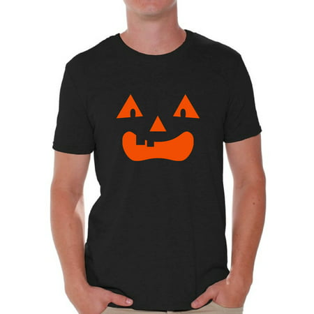 Awkward Styles Jack O'Lantern Pumpkin Shirts for Men Halloween Pumpkin Graphic T-Shirt for Guys Spooky Orange Pumpkin Tee Fun and Easy Halloween Costume for Men - Last Minute Halloween Ideas For Guys