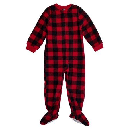 5dc8e820f Joe Boxer - Boys Red Black Buffalo Plaid Fleece Footed Pajama ...