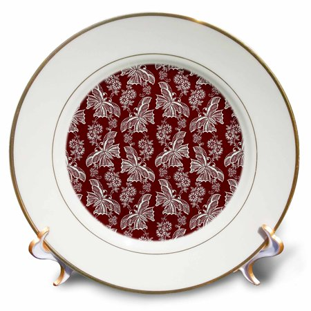 3dRose White Lace Butterflies over Burgundy Red Background - Porcelain Plate, 8-inch