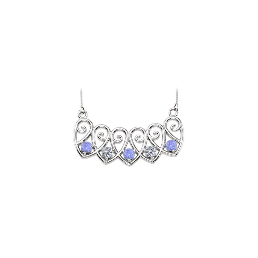LoveBrightJewelry 14K White Gold Created Tanzanites and Cubic Zirconia Mothers Necklace Mounting by Love Bright
