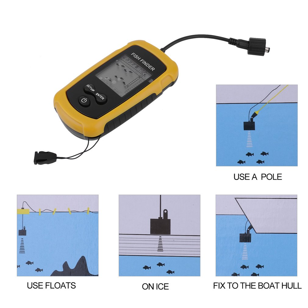 High Performance 100m Depth Fish Finder Detector Portable River Lake Sea Sonar Fishing Sensor Alarm Transducer Fishfinder