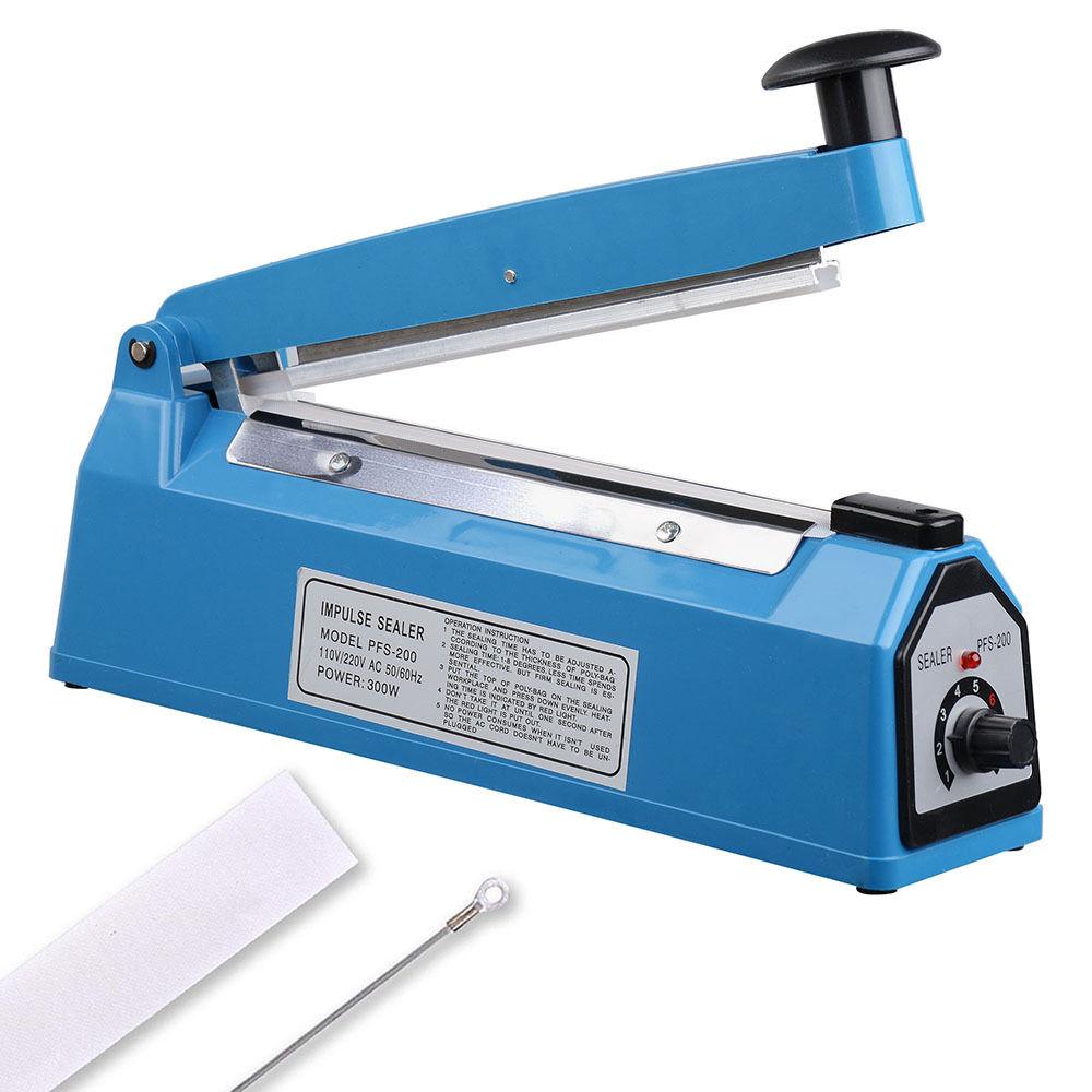 "GHP 300W Adjustable Timer 8"" Long Sealing Element Impulse Bag Manual Sealer Machine by"