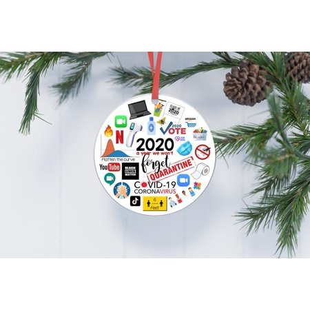 Popeven 2020 Christmas Ornament,2020 Christmas Decoration,2020 Keepsake Bauble,Lockdown,Quarantine,Pandemic,Coronavirus,COVID,Xmas Hanging Ornaments ,Christmas Tree Adornment Gift