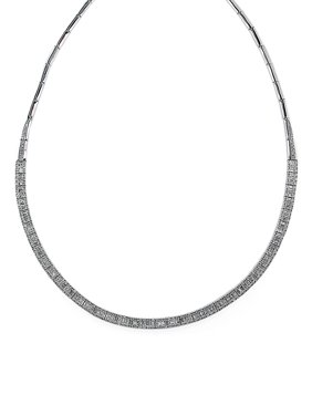 4.16 TCW Diamond And 14K White Gold Collar Necklace