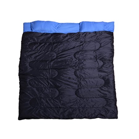 Outsunny Camping Two Person Double Wide Sleeping Bag With Pillows   Blue   Black