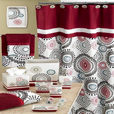 Popular Bath Suzanni Shower Curtain Burgundy