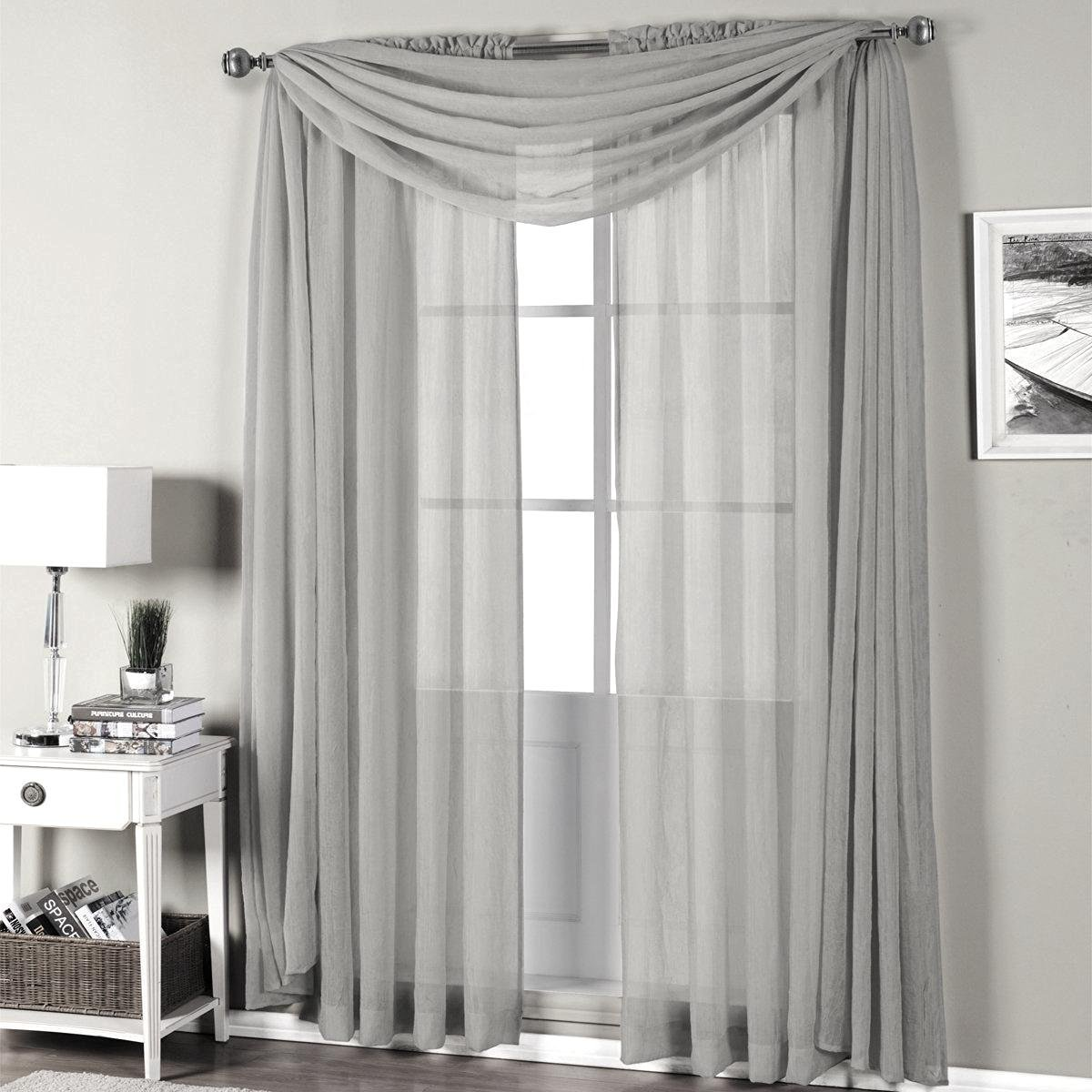 "Qutain Linen Solid Viole Sheer Curtain Window Panel Drapes Set of Two (2) 55"" x 63 inch - Silver"