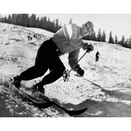 Mid adult man skiing downhill Canvas Art - (18 x 24)