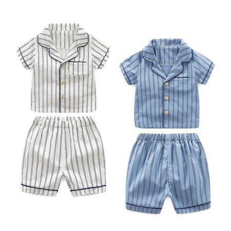 The Noble Collection Kids Baby Boys Stripe Shirt Top+Pant Pyjamas Pajamas Summer Sleepwear 2Pcs - Boy Collection