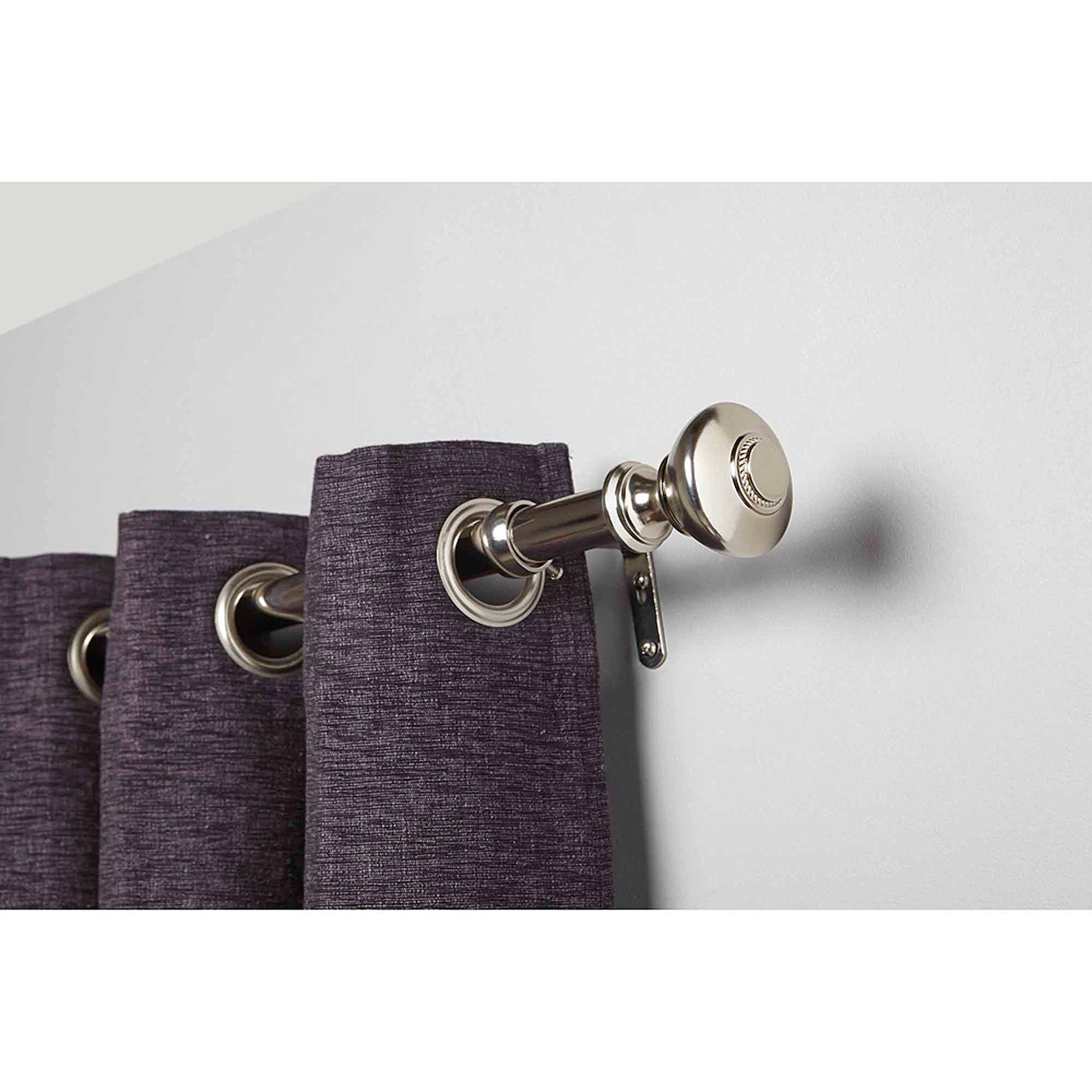 Better Homes and Gardens Silver Knob Curtain Rod Set, Nickel by
