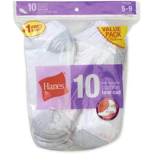 Hanes Low Cut 10-Pack with 1 Bonus Sock