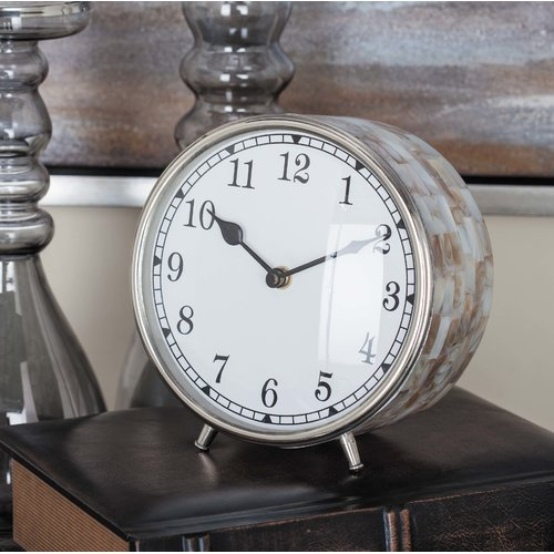 Cole & Grey Stainless Steel Inlay Table Clock by GwG Outlet