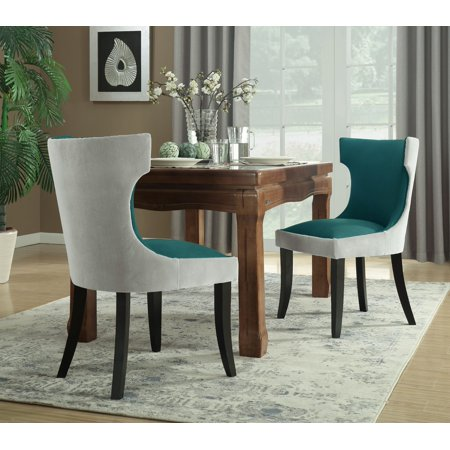 Chic Home Zeke Dining Side Chair Velvet PU Leather Espresso Wood Frame Modern Transitional, 2pc Set, Light Grey/Teal