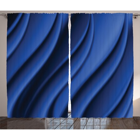 Navy Blue Decor Curtains 2 Panels Set, Ocean Wave Inspired Design with Digital Reflection Abstract Artwork, Window Drapes for Living Room Bedroom, 108W X 84L Inches, Dark Metallic Blue, by Ambesonne