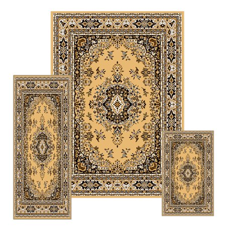 Traditional Persian Oriental Bordered 3PC Rug Set (Runner, Accent Mat, Area Rug)