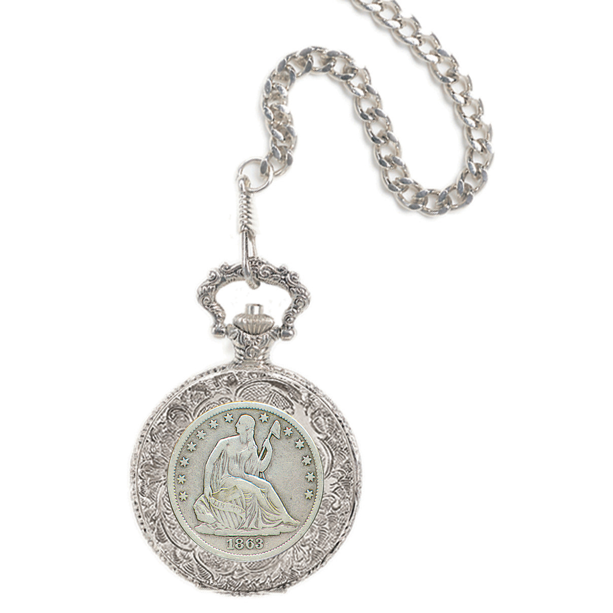 Seated Liberty Silver Half Dollar Coin Pocket Watch