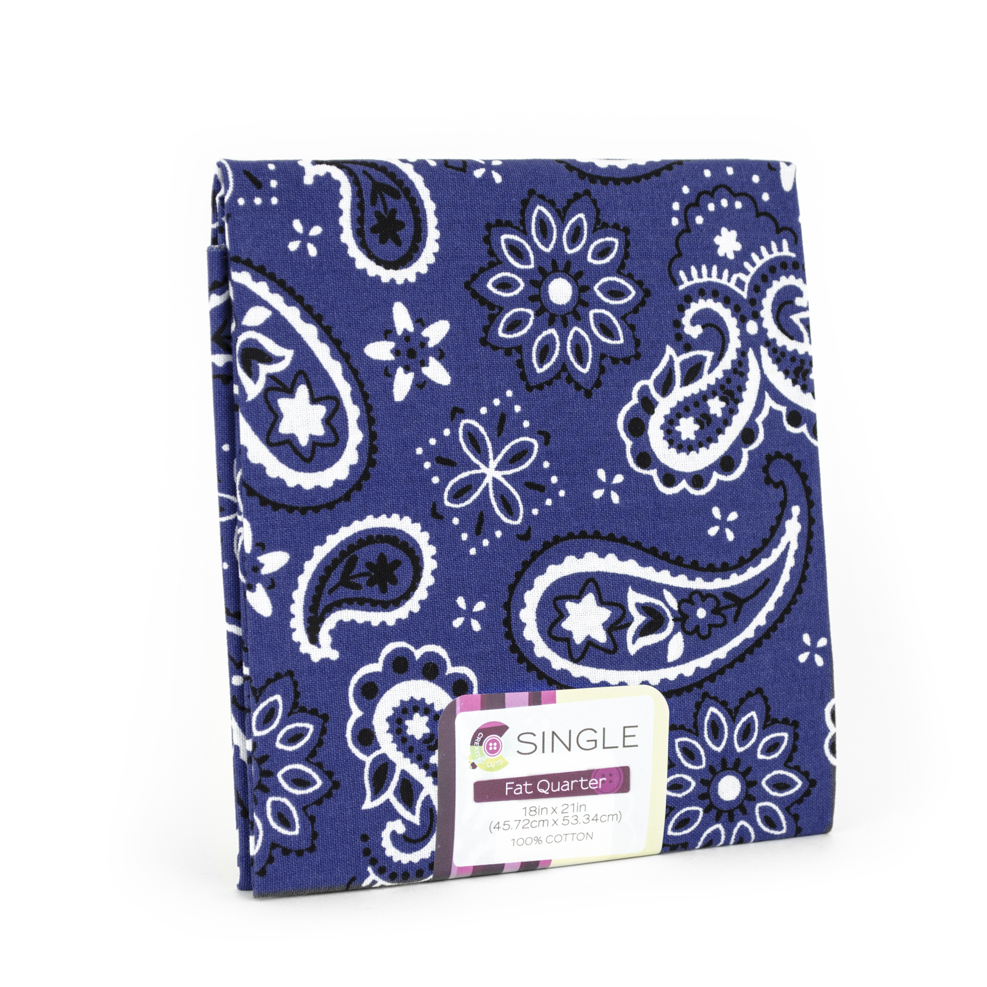"Fabric Editions- Cotton Fabric, Fat Quarter, 18"" x 21"" BANDANA INK"