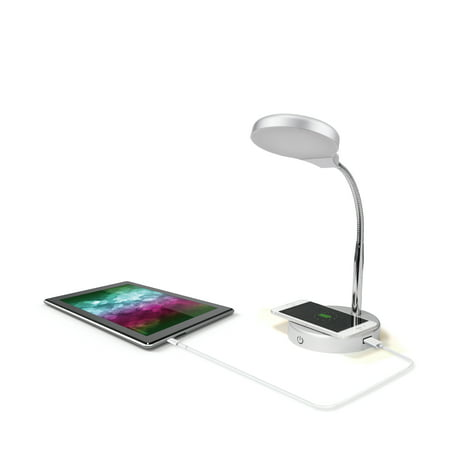 Mainstays LED Desk Lamp with Qi Wireless Charging and USB Port, (Vho Lamp)