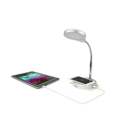 Mainstays LED Desk Lamp with Qi Wireless Charging and USB Port,