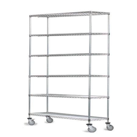 "18"" Deep x 18"" Wide x 60"" High 6 Tier Chrome Wire Shelf Truck with 800 lb Capacity"