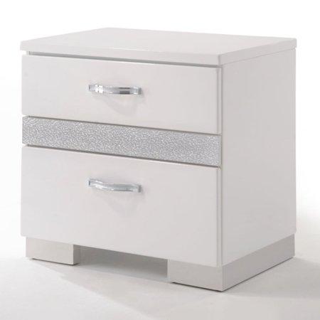 Benzara Nightstand With Three Center Metal Glide Drawers In White Gloss Finish