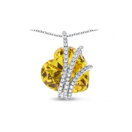 Star K Heart Shape 15mm Simulated Citrine Floating Heart Pendant Necklace in Sterling Silver