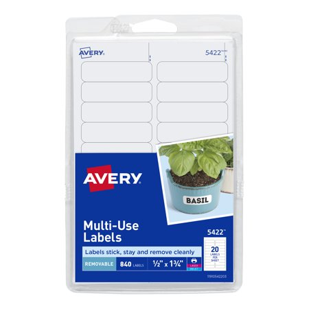 Avery Self-Adhesive Removable Labels, 0.5 x 1.75 Inches, White, 840 per Pack