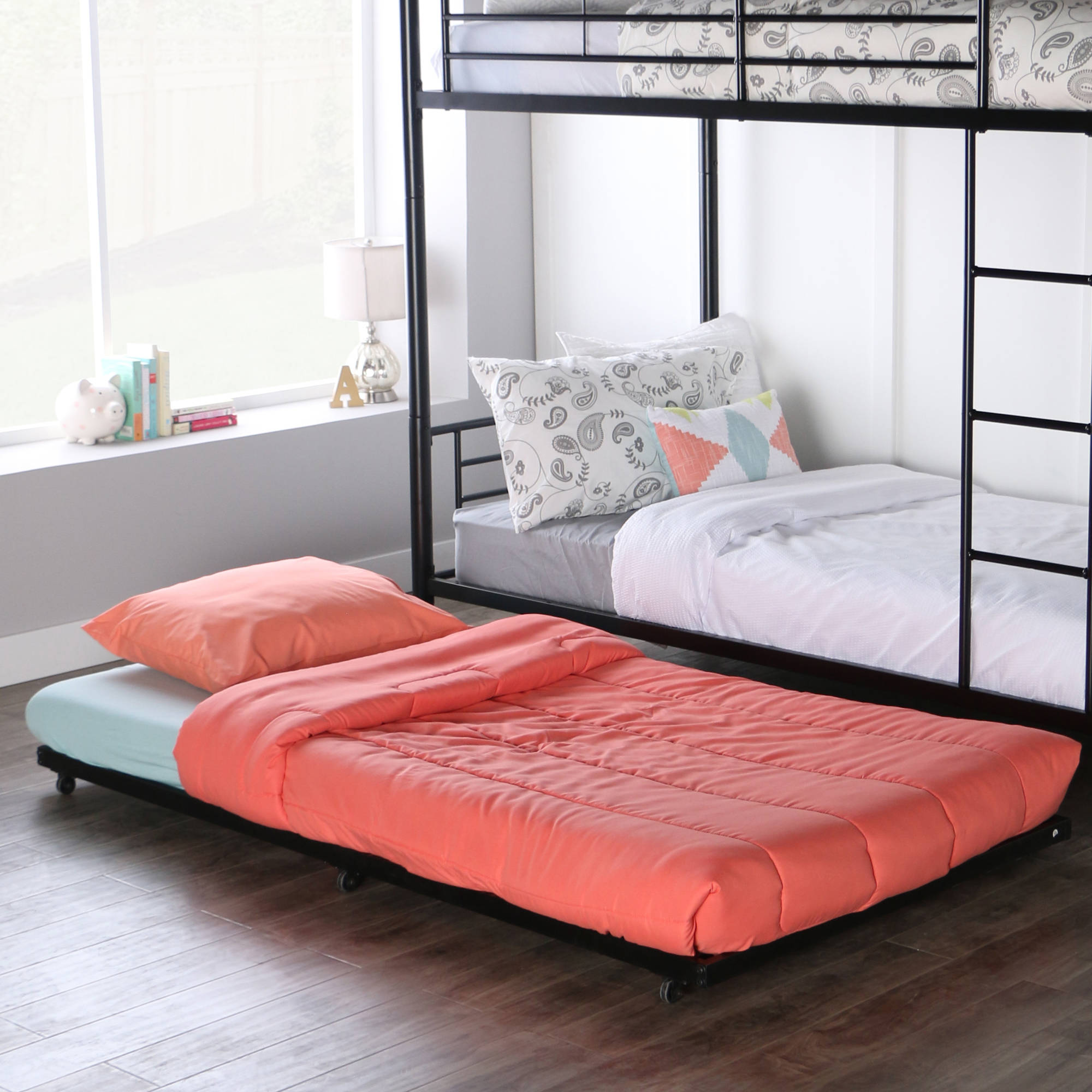 black metal twin bed rollout trundle frame