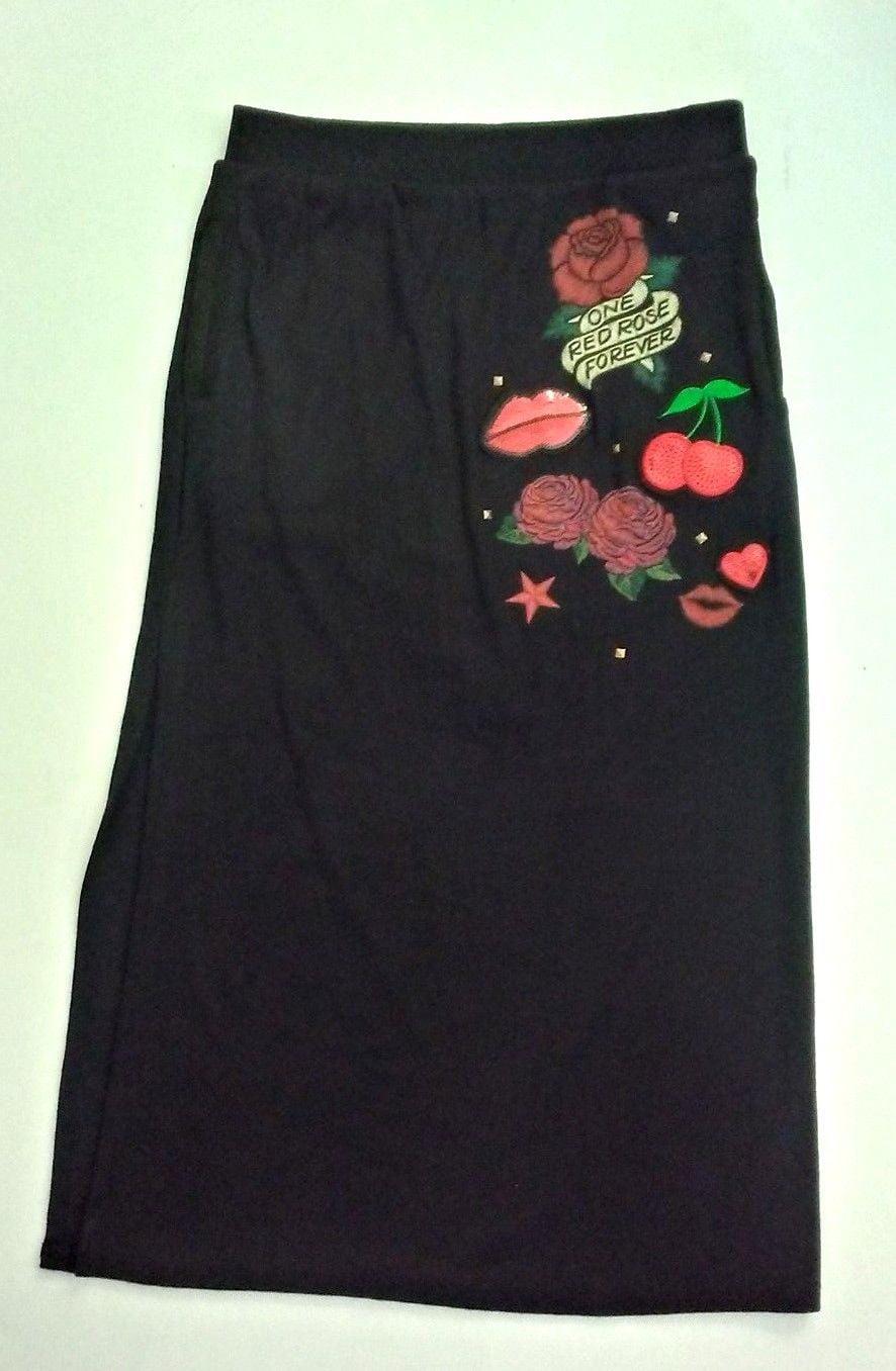 Art Class Girls Art Class Knit Maxi Skirt Black With Rose Design