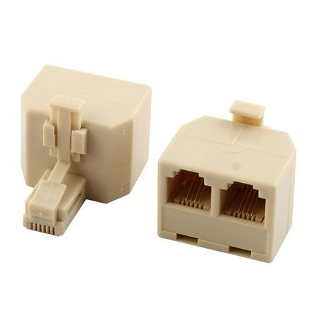 Plastic RJ11 1 Male to 2 Female Cable Cord Line Adapter Connector Splitter 2 Pcs (Rj11 Line Splitter)