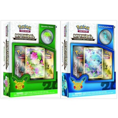 - Pokemon TCG Manaphy and Shaymin Mythical Collection Box Bundle. 1 of Each Mythical Collection, including 2 Booster Packs from the Pokemon Generations 20th Anniversary Set and Rare Promo Card