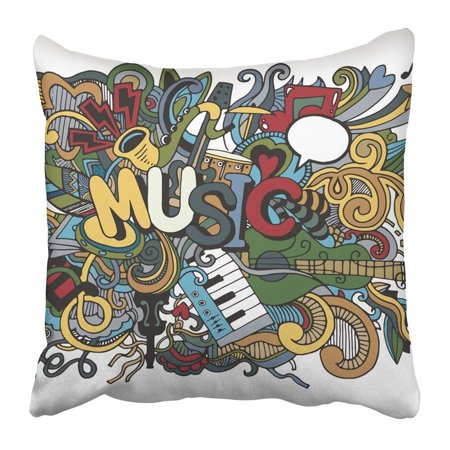 ARTJIA Drawn Abstract Music Collage with Musical Instruments Hand Drawing Doodle Acoustic Band Bass Beat Pillowcase 20x20 inch
