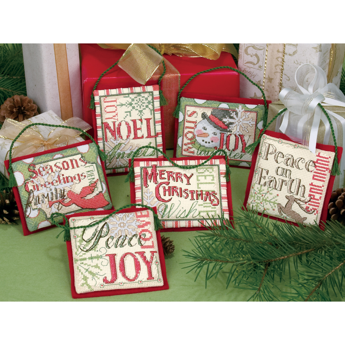 "Dimensions ""Christmas Sayings"" Ornaments Counted Cross Stitch Kit, Up To 4"", Set of 6"