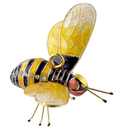 Red and Yellow Bejeweled Bumblebee Articulated Cloisonne Metal Ornament Bee New](Bee Ornaments)