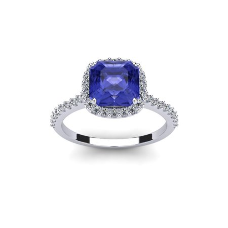 2 Carat Cushion Cut Tanzanite and Halo Diamond Ring In 14K White Gold ()
