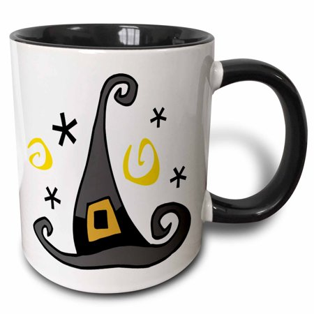 3dRose Halloween Cute Witches Hat - Two Tone Black Mug, 11-ounce](Cute Halloween Witches)