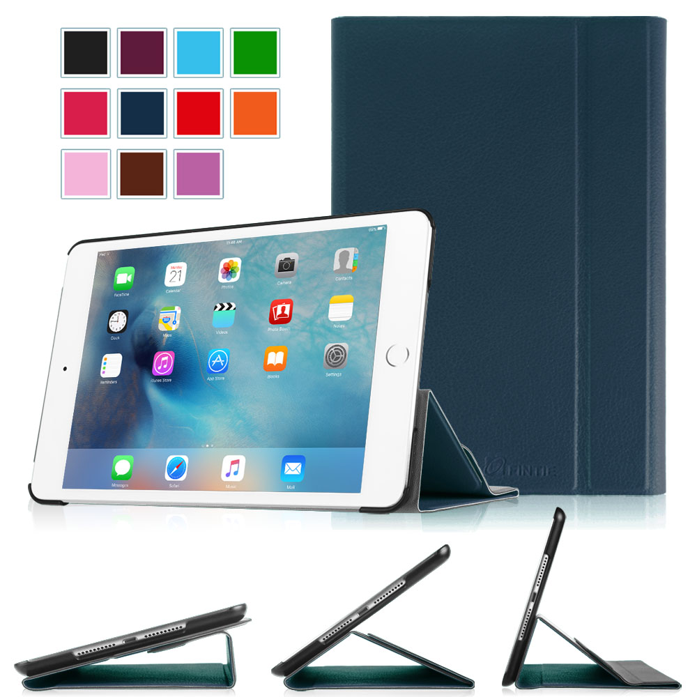 Fintie iPad mini 4 2015 Smart Book Case Stand Cover Supports 3 Viewing Angles with Auto Sleep/Wake Feature, Navy