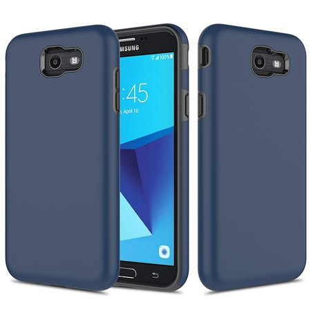 Galaxy J7 V Case, Galaxy Halo / J7 Prime / J7 Perx / J7 Sky Pro Case, TownShop Navy Blue Hard Rubber Impact Dual Layer Shockproof Silicone Bumper Case for Samsung Galaxy J7 (2017)