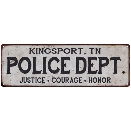 KINGSPORT, TN POLICE DEPT. Home Decor Metal Sign Gift 6x18 106180012702 - Halloween City Kingsport Tn