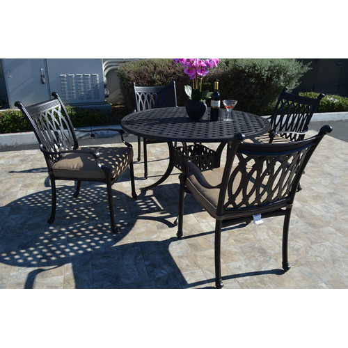 Fleur De Lis Living Baragrey 5 Piece Dining Set with Cushions