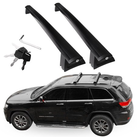 2Pcs/set For 2011-2018 Jeep Grand Cherokee Black Roof Top Rack Cross Bar Cargo Luggage ()